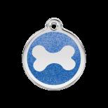 Dark Blue Glitter Enamel Tag - Bone