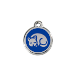 Dark Blue Enamel Tag - Kitten