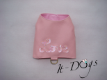 Pink Faux Leather Dog Harness with 'Love' in Sequins