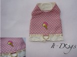 Pink Spotty Cotton Dog Harness with Embroidered Ice Cream