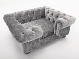 Balmoral Chesterfield Designer Pet Sofa - Crushed Velvet in Silver