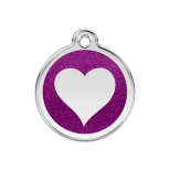 Purple Glitter Enamel Tag - Heart