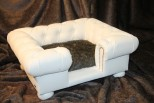 Balmoral Chesterfield Designer Pet Sofa - Snow White Faux Leather with Beaver Faux Fur