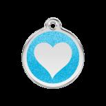 Aqua Glitter Enamel Tag - Heart