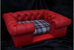 Balmoral Chesterfield Designer Pet Sofa - Red Leather with Black and White Checked Fabric