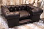 Balmoral Chesterfield Designer Pet Sofa - Brown Leather