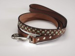 Brown Leather Dog Lead with Green Swarovski Crystals 3/4
