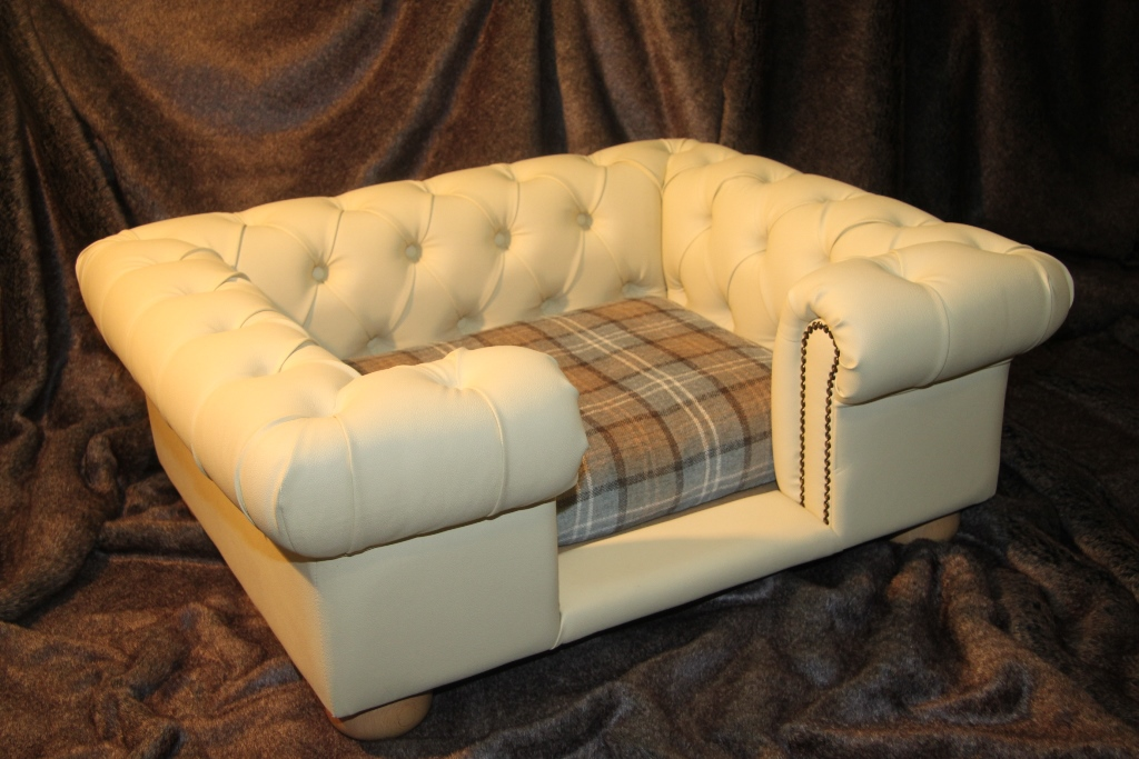Balmoral Chesterfield Designer Pet Sofa Tan Faux Leather With Dove Fabric Aristopaws