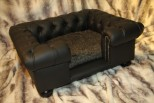 Balmoral Chesterfield Designer Pet Sofa - Black Faux Leather with Beaver Faux Fur