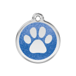 Dark Blue Glitter Enamel Tag - Paw Prints