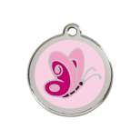 Pink Enamel Tag - Butterfly