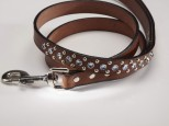 Brown Leather Dog Lead with Blue Swarovski Crystals 3/4