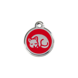 Red Enamel Tag - Kitten