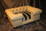 Balmoral Chesterfield Designer Pet Sofa - Tan Faux Leather with Siberian Faux Fur