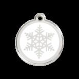 White Enamel Tag - Snowflake