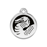 Enamel Tag - Black/White Dragon