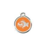 Orange Enamel Tag - Fish