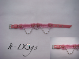 Pink Leather Dog Collar with a Pearl Chain and Flowers