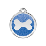 Dark Blue Glitter Enamel Tag - Bone