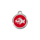 Red Enamel Tag - Fish