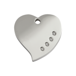 Diamante Polished Stainless Steel Tag - Heart