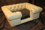 Balmoral Chesterfield Designer Pet Sofa - Cream Faux Leather with Beaver Faux Fur