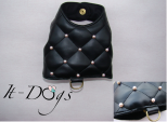 Black Faux Leather Dog Harness with Pearls