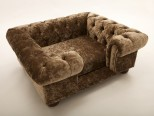 Balmoral Chesterfield Designer Pet Sofa - Crushed Velvet in Truffle