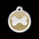 Gold Glitter Enamel Tag - Bone