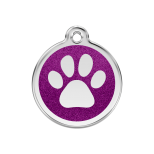Purple Glitter Enamel Tag - Paw Prints