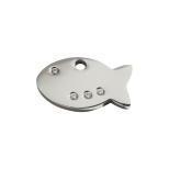 Diamante Polished Stainless Steel Tag - Fish
