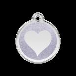 Silver Glitter Enamel Tag - Heart