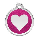 Hot Pink Glitter Enamel Tag - Heart