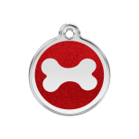 Red Glitter Enamel Tag - Bone