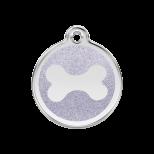 Silver Glitter Enamel Tag - Bone