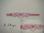 Pink Leather Dog Collar with a Pearl Chain and Bows