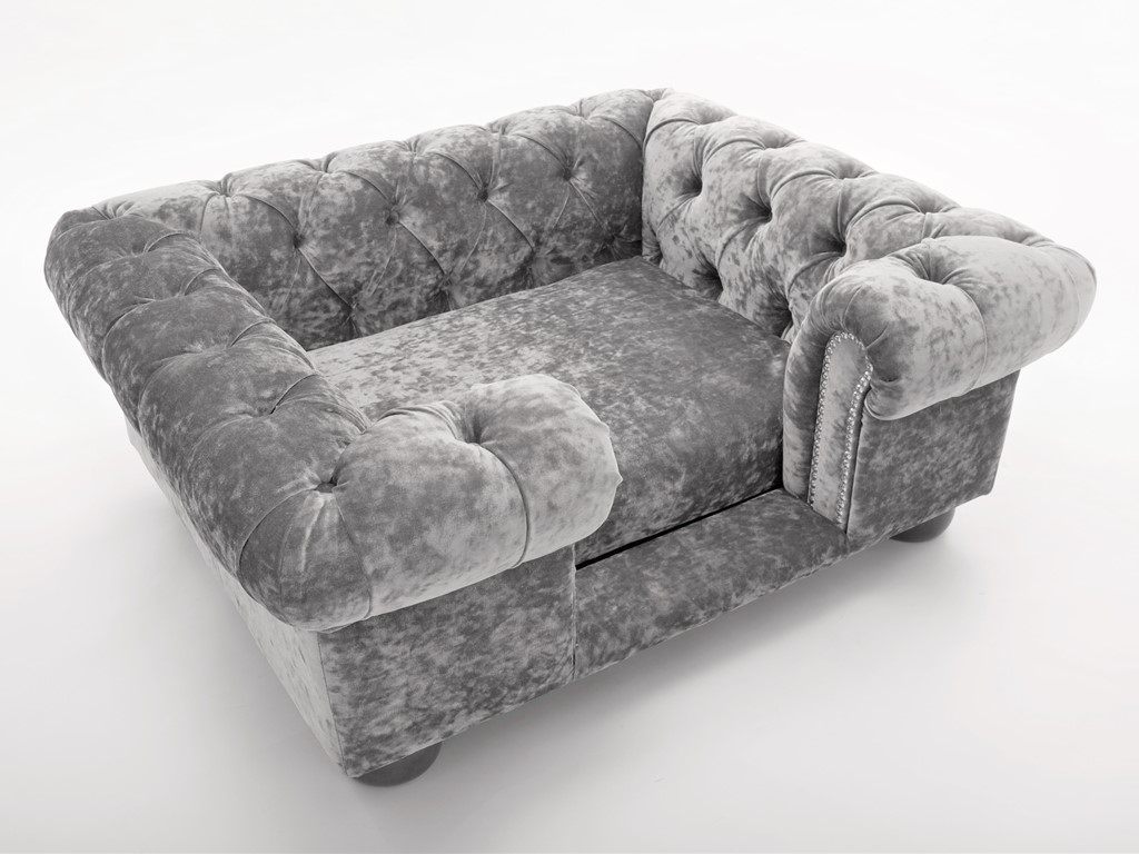 Balmoral Chesterfield Designer Pet Sofa Crushed Velvet In Silver