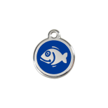 Dark Blue Enamel Tag - Fish