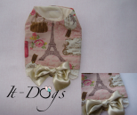 Cotton Dog Harness with Paris Print