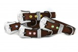 Brown Leather Dog Collar with Green Swarovski Crystals 3/4