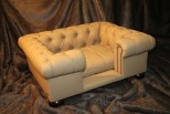Balmoral Chesterfield Designer Pet Sofa - Tan Faux Leather