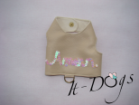 Cream Faux Leather Dog Harness with 'Amore' in Sequins