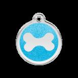 Aqua Glitter Enamel Tag - Bone