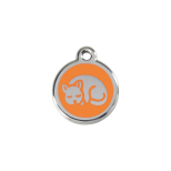 Orange Enamel Tag - Kitten