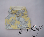 Yellow Cotton Dog Harness with Roses