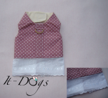 Pink Polkadot Cotton Dog Harness with Rabbits
