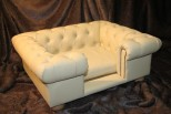 Balmoral Chesterfield Designer Pet Sofa - Devon Cream Faux Leather