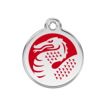 Enamel Tag - Red/White Dragon