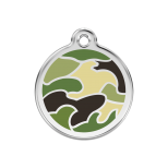 Green Enamel Tag - Camouflage