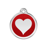 Red Glitter Enamel Tag - Heart